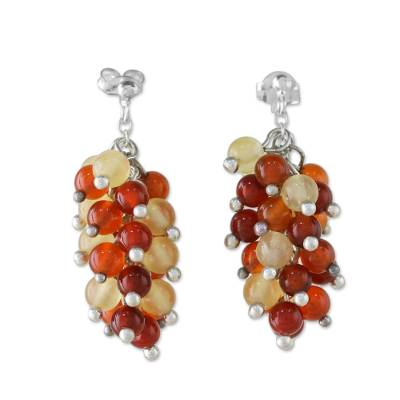 Carnelian and Citrine Cluster Earrings
