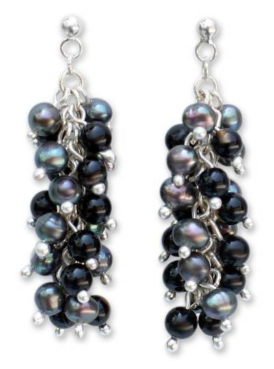 Hand Made Onyx and Pearl Cluster Earrings