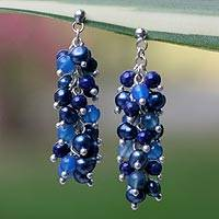 Pearl and lapis cluster earrings, 'Dazzling Mint' - Lapis Lazuli and Pearl Sterling Silver Dangle Earrings