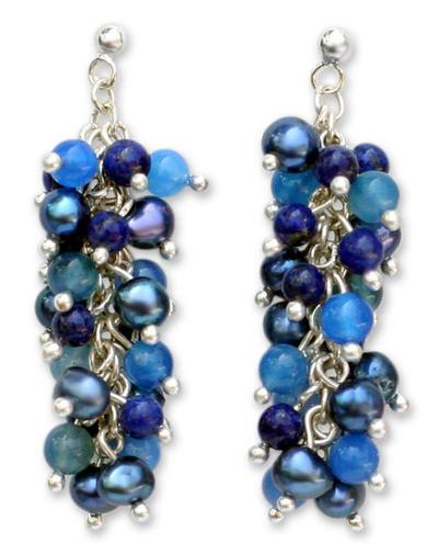 Lapis Lazuli and Pearl Dangle Earrings