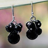 Onyx cluster earrings, 'Midnight Friends' - Unique Beaded Onyx Earrings