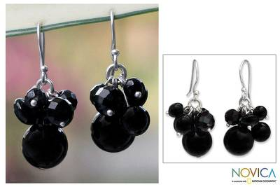 Onyx cluster earrings, Midnight Friends