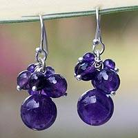Amethyst cluster earrings, 'Friends' - Handmade Amethyst Cluster Earrings