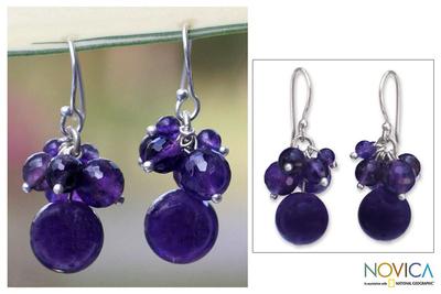 Amethyst cluster earrings, 'Friends' - Handmade Amethyst Cluster Earrings