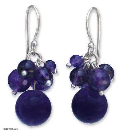 Handmade Amethyst Cluster Earrings