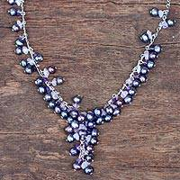 Pearl and amethyst pendant necklace, 'Violet Iridescence'