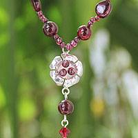 Garnet flower necklace, 'Flower Fantasy' - Hand Crafted Beaded Garnet Necklace