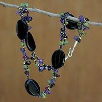 Onyx and amethyst beaded necklace, 'Magical Enchantment'