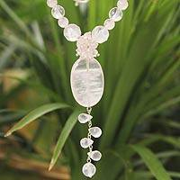 Rose quartz pendant necklace, 'Spell of Love' - Handmade Rose Quartz Y Necklace