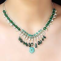 Cultured pearl and aventurine waterfall necklace, 'Verdant Dew' - Cultured Pearl and Aventurine Waterfall Necklace