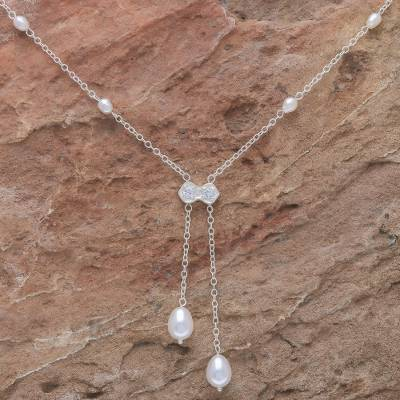 Pearl lariat necklace, 'Ethereal' - Unique Pearl Lariat Necklace