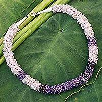 Rose quartz and amethyst beaded necklace, 'Sweet Sensations' - Rose quartz and amethyst beaded necklace