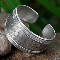 Sterling silver cuff bracelet, 'Sands of Time' - Unique Sterling Silver Hill Tribe Cuff Bracelet