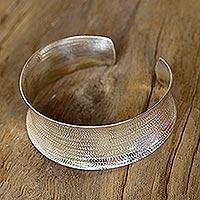Sterling silver cuff bracelet, 'Hypnotic Thai' - Handcrafted Hill Tribe Sterling Silver Cuff Bracelet