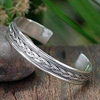 Sterling silver cuff bracelet, 'Movement' - Sterling Silver Cuff Bracelet from Thailand