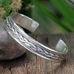 Sterling Silver Cuff Bracelet from Thailand, 'Movement'