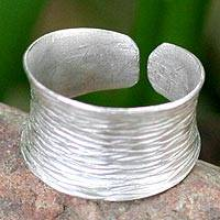 Sterling silver band ring, 'Riptide'