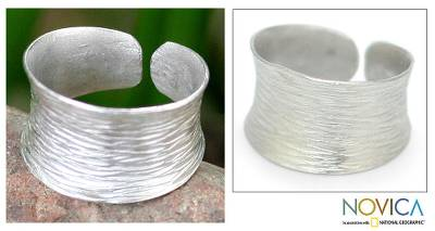 Sterling silver band ring, 'Riptide' - Handcrafted Sterling Silver Band Ring