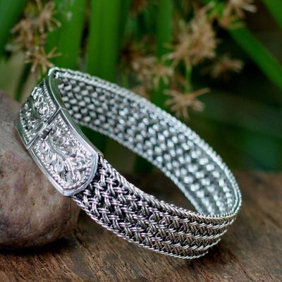 Sterling silver wristband bracelet, 'Woven Hideaway' - Handcrafted Floral Sterling Silver Wristband Bracelet
