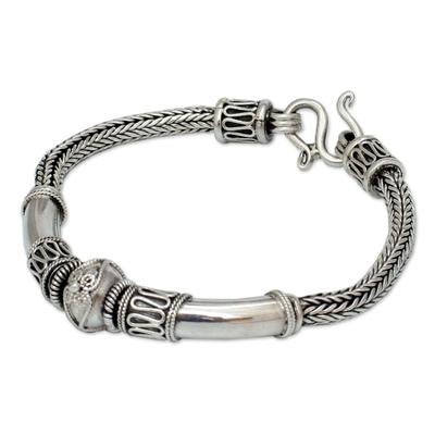 Sterling silver braided bracelet, 'Thai Legend' - Handcrafted Sterling Silver Chain Bracelet