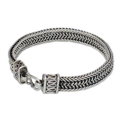 Men's sterling silver bracelet, 'Kingdom' - Men's Sterling Silver Chain Bracelet