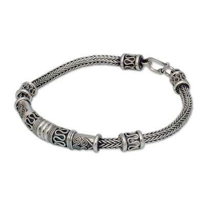 Men's sterling silver bracelet, 'Royal Scrolls' - Men's Unique Sterling Silver Chain Bracelet