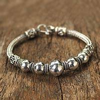 Sterling silver braided bracelet, 'Thai Moons' - Artisan jewellery Sterling Silver Chain Bracelet