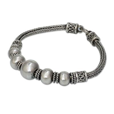 Sterling silver braided bracelet, 'Thai Moons' - Artisan Jewelry Sterling Silver Chain Bracelet
