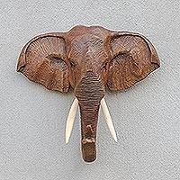 Teak wall sculpture, 'Elephant Guardian' - Thai Teakwood Wall Sculpture