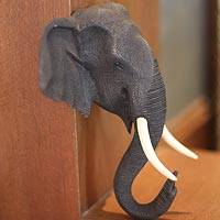 Teak wall sculpture, 'Proud Elephant' - Animal Themed Thai Statue