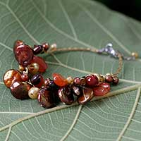 Pearl and carnelian cluster bracelet, 'Hot Tropics' - Fair Trade Beaded Carnelian and Pearl Bracelet