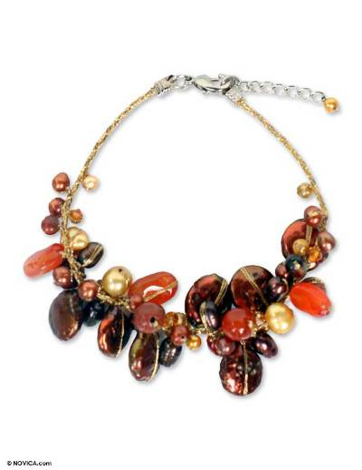 Fair Trade Beaded Carnelian and Pearl Bracelet