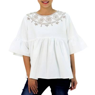 Cotton blouse, 'Sugar Chic' - Hand Embroidered Cotton Blouse