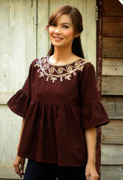 Cotton blouse, 'Chocolate Chic' - Brown Cotton Blouse