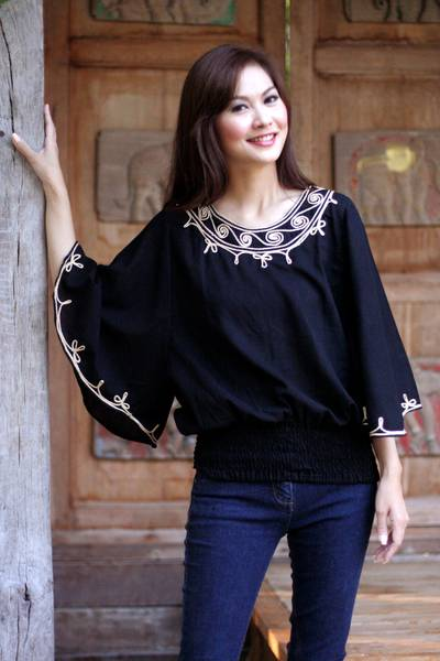 Cotton blouse, 'Cool Night' - Women's Embroidered Cotton Top