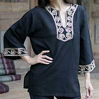Cotton blouse, 'Cosmopolitan Night'