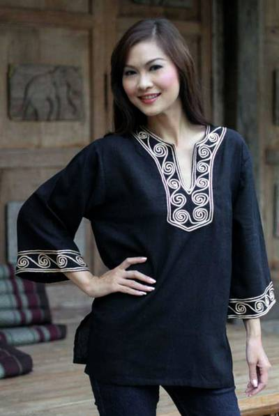 Cotton blouse, 'Cosmopolitan Night' - Women's Cotton Tunic