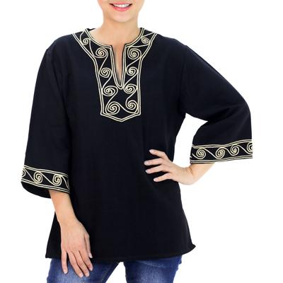 Cotton blouse, 'Cosmopolitan Night' - Women's Cotton Tunic