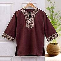Cotton blouse, 'Cosmopolitan Earth' - Artisan Crafted Cotton Tunic