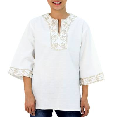 Cotton blouse, 'Cosmopolitan Cloud' - Hand Embroidered Tunic