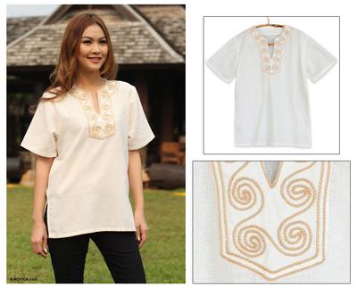 Cotton blouse, 'White Jasmine' - Hand Embroidered Cotton Tunic