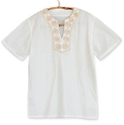 Cotton blouse, 'White Jasmine' - Hand Embroidered Cotton Tunic