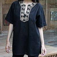 Cotton blouse, 'Black Jasmine'