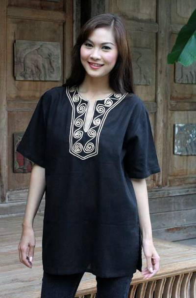 Cotton blouse, 'Black Jasmine' - Handcrafted Cotton Blouse