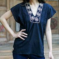 Cotton blouse, 'Ebony Melody' - Hand Made Cotton Tunic