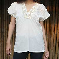 Cotton blouse, 'Ivory Melody' - Handmade Embroidered Cotton Blouse