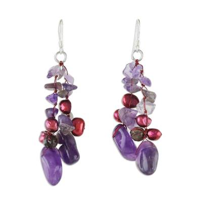 Pearl and rose quartz dangle earrings, 'Diva' - Amethyst and Pearl Dangle Earrings