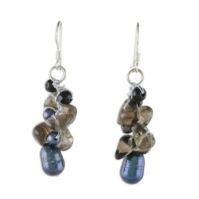 Smoky Quartz and Pearl Cluster Earrings