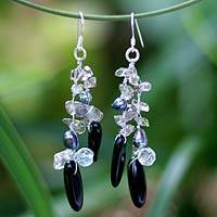 Pearl and smoky quartz dangle earrings, 'Diva' - Hand Crafted Onyx and Quartz Waterfall Earrings