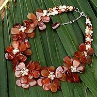 Pearl and agate flower necklace, 'Elixir' - Pearl and agate flower necklace